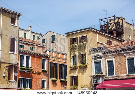 Venice Italy - May 05 2016: Traditional architecture of Venice in spring time