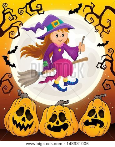 Cute witch theme image 6 - eps10 vector illustration.