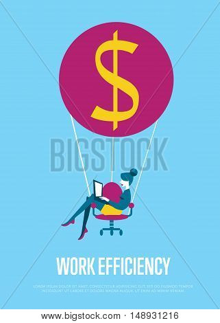 Young efficient business woman with laptop flying on hot air balloon with office chair instead of basket. Work efficiency banner, vector illustration. Abstract work smarter concept. Isolated character