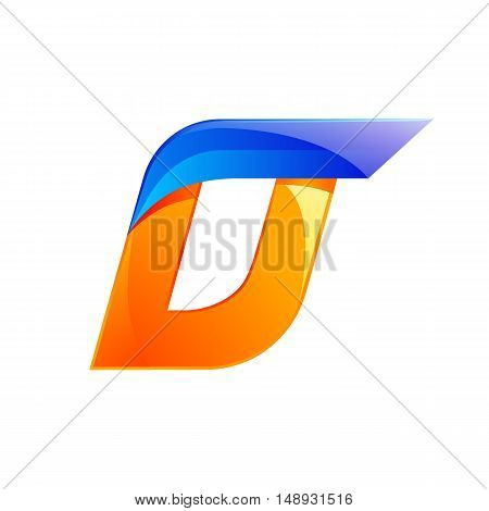 D letter blue and Orange logo design Fast speed design template elements for application.