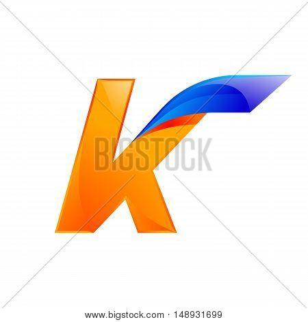 K letter blue and Orange logo design Fast speed design template elements for application.