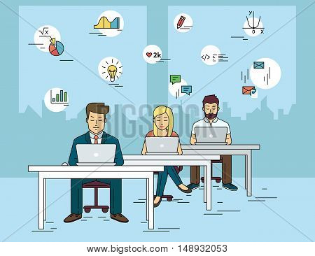 Busy students working at university and learning with laptop. Flat outlined illustration of people learn and get knowledge with social media symbols such as idea, diagram, email, exam, and coding