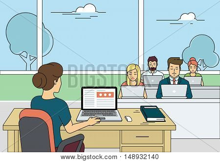 Busy students learning in a university class with laptops. Flat outlined illustration of university teacher working with laptop during class exam or professional lesson