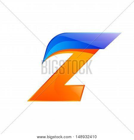Z letter blue and Orange logo design Fast speed design template elements for application.