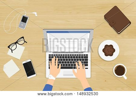 Woman sitting at the wooden textured table and working with laptop in social networks. Realistic illustration top view of people working at home using laptop and typing something for blog