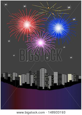 Vector fireworks above city - illustration, abstrack background