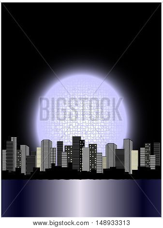 Vector moon above city - illustration, abstract background