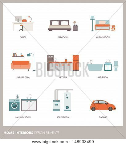 Conceptual home room interiors with objects and furnishings: office bedroom bathroom living room kitchen garage laundry and boiler room