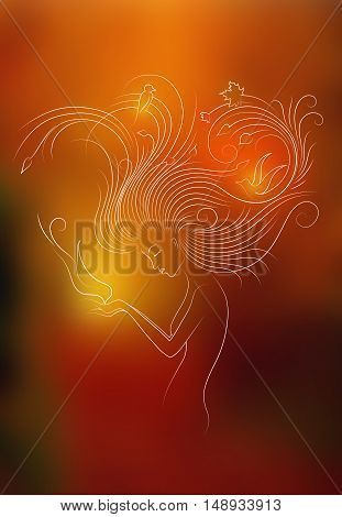 Autumn Style Fantasy Outline Sketch of Young Woman with Long Red Curly Hair Feeding the Bird from Hands, Surrounded by Birds and Maple Leaves. White outline on colorful background.
