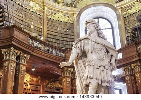Vienna, Austria - August 14, 2016: Sculpture In The State Hall (prunksaal), The Heart Of The Austria