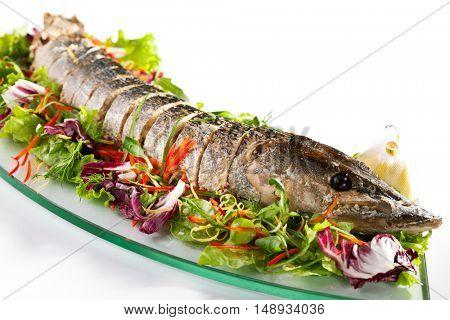 Stuffed Sliced Pike with Mixed Salad