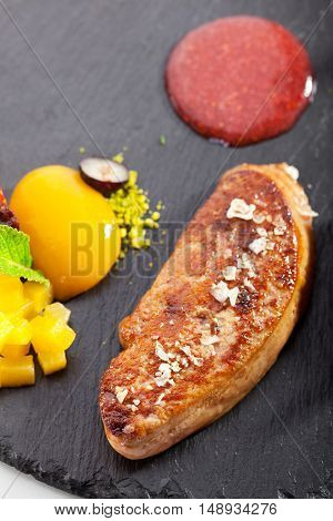 Fried Duck Fillet with Fruits and Berries and Sweet Dip