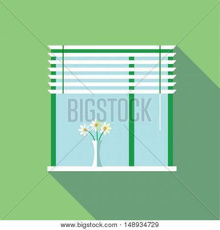 Digital vector flowers in vase on a window with venetian blind over green background flat style
