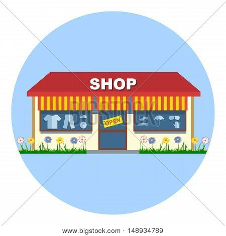 Digital vector shop storefront with open sign red and yellow stripes shoes and clothes flowers flat style