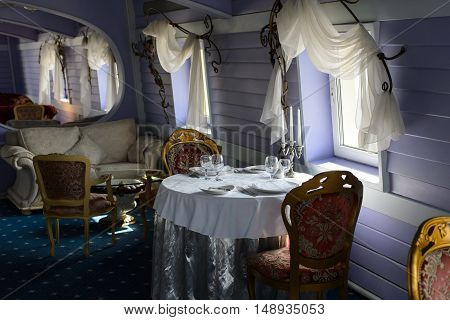 Saint Petersburg, Russia, 31 Jul 2016: luxurious interior of restaurant on ship