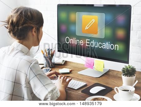 Pencil Icon Online Education Learning Graphic Concept