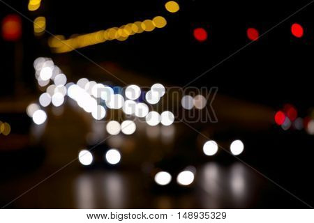 Unfocused light of city traffic