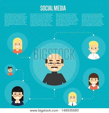 Social media and social network people connecting. Social network concept. Business network social conncetions. People life in social network. Social networking. Social media network infographics with people and their social network. Social network map.