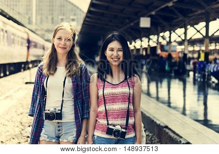 Young Girls Travel Holiday Concept