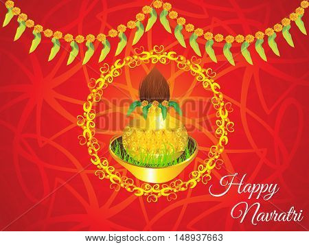 abstract artistic golden navratri kalash background vector illustration