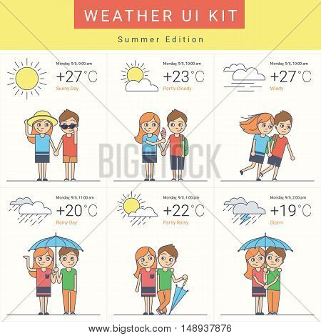 Flat weather widgets set with cute couple in six variants such as sunny day, cloudy, windy and rain with storm. Summer ui kit in flat style for website weather forecast or mobile app