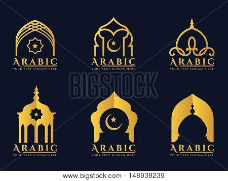 Gold Arabic windows and doors architecture logo vector set design