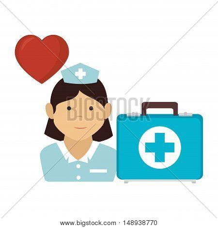 avatar woman nurse medical assitance with kit healthy box medicine icon. colorful design. vector illustration