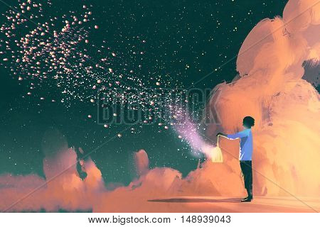 man holding a cage with floating shinning star dust, illustration painting