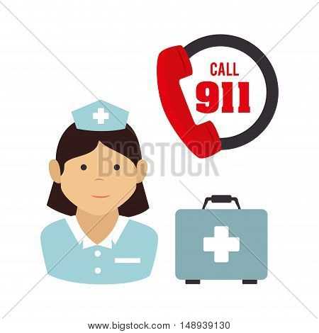 avatar woman nurse medical assitance with medicine kit box and emergency service call icon. colorful design. vector illustration