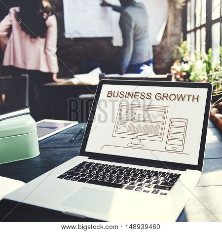 Business Growth Progress Summary Analytics Computer Concept