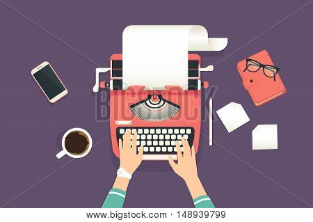 Womans hands typing an article on a vintage typewriter. Flat illustration of working process and author modern workplace. Business background for promotion and blogging