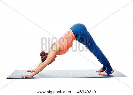 Woman doing Surya Namaskar Sun Salutation Ashtanga Vinyasa Yoga asana Adho mukha svanasana - downward facing dog isolated on white background