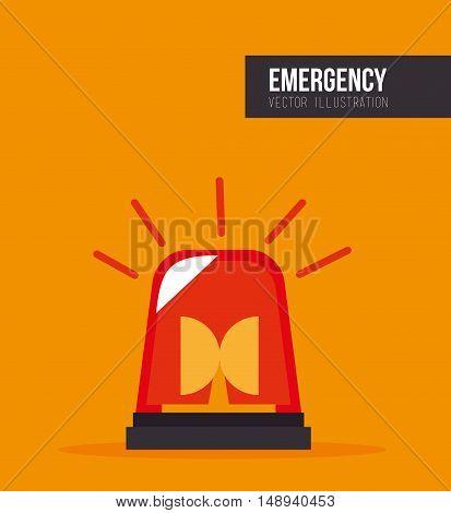 siren alarm emergency equipment device over yellow background. vector illustration