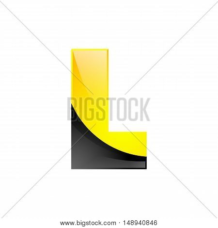 Creative yellow and black symbol letter L for your application or company design alphabet Graphics 3d letter.