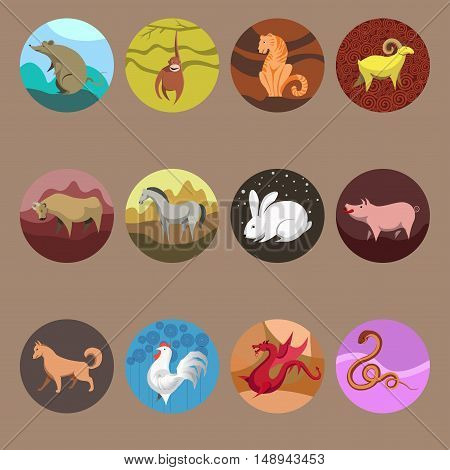 Set icons of zodiac animals for horoscope design. Chinese horoscope: Rat, Ox, Tiger, Rabbit, Dragon, Snake, Horse, Goat, Monkey, Rooster, Dog, Pig. Flat style. Vector illustration isolated