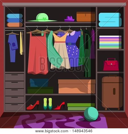 Closet with fashion clothes. Wardrobe room with woman clothing: shoes and accessories, dress, shirt and bag, box. Flat style vector illustration.