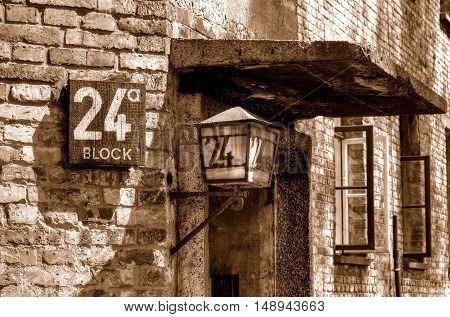 OSWIECIM POLAND - MAY 12 2016: Number block in concentration camp Auschwitz-Birkenau in Oswiecim Poland.
