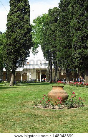 Garden Of Topkapi Palace In Istanbul, Turkey
