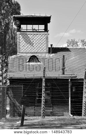 OSWIECIM POLAND - MAY 12 2016: Concentration camp Auschwitz-Birkenau in Oswiecim Poland.