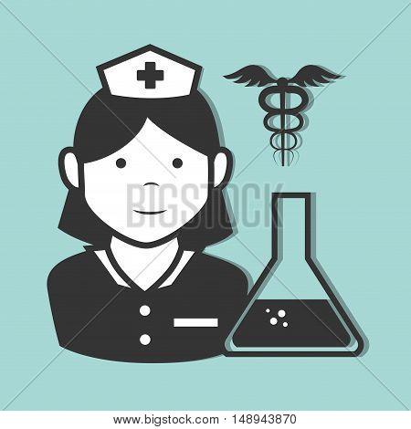avatar woman nurse medical assitance with medicine caduceus symbol and conical flask bottle. vector illustration