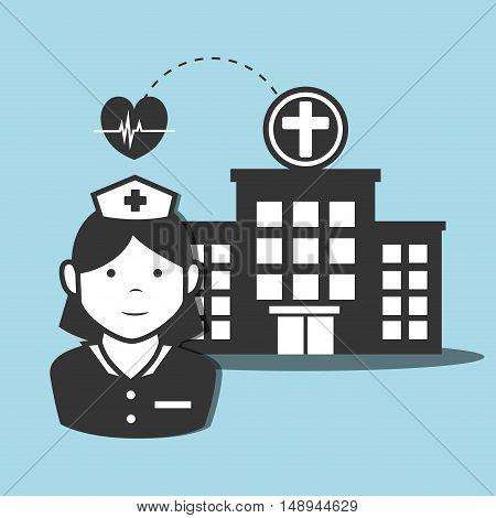 avatar woman nurse medical assitance with hospital center and cardio pulse heart icon. vector illustration