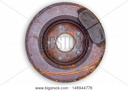 Old Scored Rusty Brake Rotor And Pads