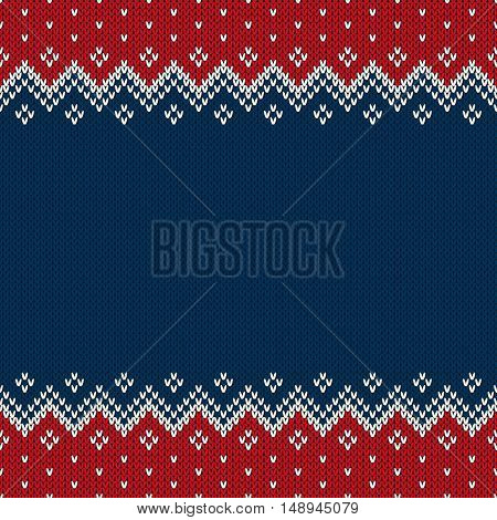 Traditional Fair Isle Style Seamless Knitted Pattern. Christmas And New Year Design Background With