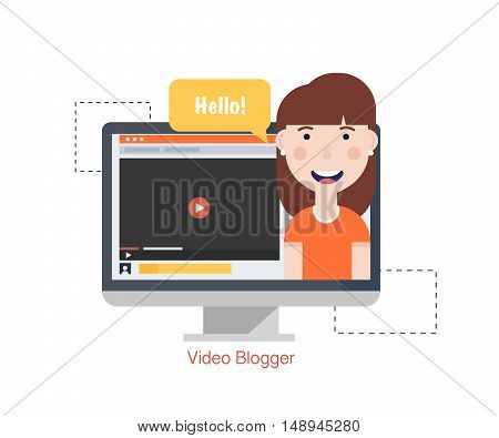 Girl Blogger Video Computer. Concept blogging.Digital blog. Flat Vector Illustration