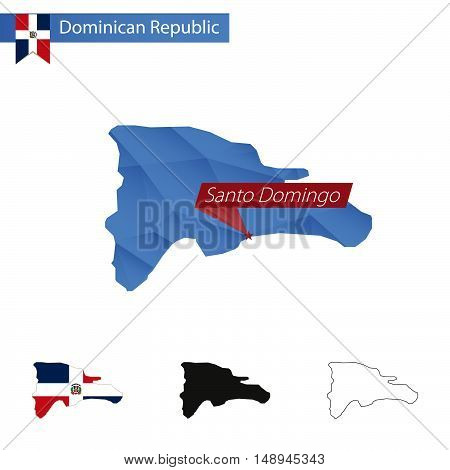 Dominican Republic Blue Low Poly Map With Capital Santo Domingo.
