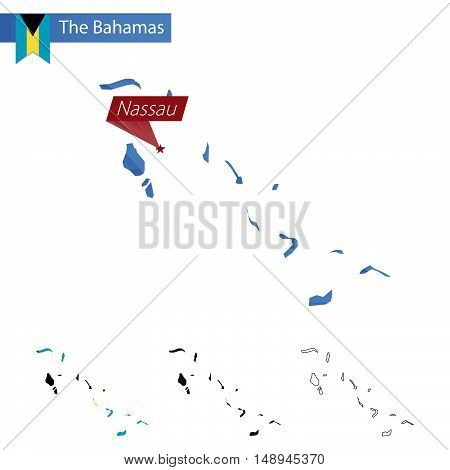 The Bahamas Blue Low Poly Map With Capital Nassau.