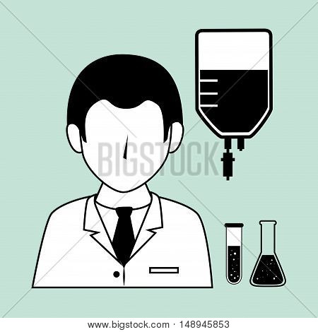 avtar medical man doctor with iv bag and test tubes. vector illustration