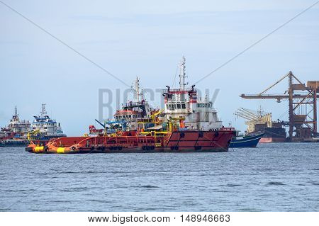 The Supply vessels transporting cargo at Labuan sea.Labuan strategically located in the hub of Asia-Pacific and the ASEAN offshore oil exploration and production region.