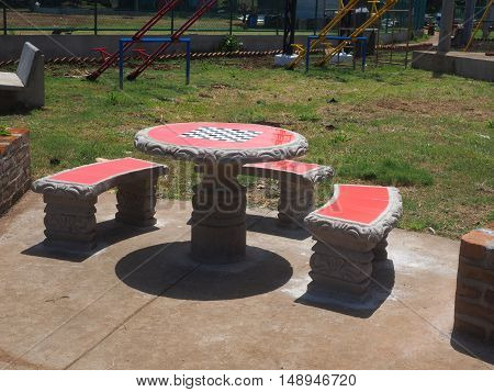 chess checker-board table in new public park South End Big Corn Island Nicaragua Central America