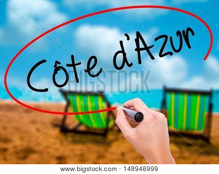 Man Hand Writing C�´te D'azur With Black Marker On Visual Screen